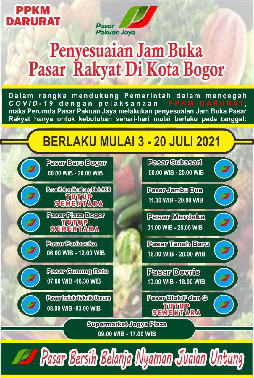 Pemerintah Pusat Umumkan Kebijakan PPKM Darurat, Perumda Pasar Pakuan Jaya  Sesuaikan  Jam Buka Pasar